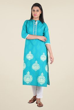 Shree Blue Block Print Cotton Kurta