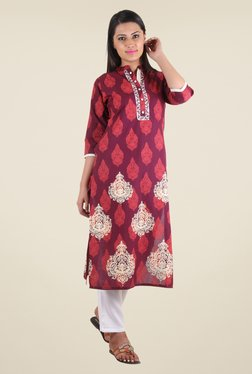 Shree Maroon Cotton Printed Kurta