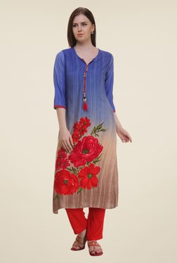 Shree Blue Floral Print Rayon Kurta