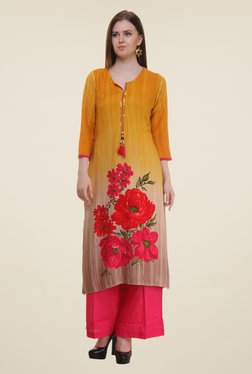 Shree Yellow Floral Print Rayon Kurta