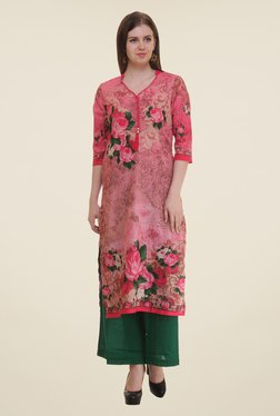 Shree Pink Floral Print Cotton Kurta