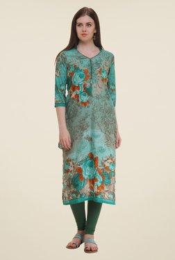 Shree Teal Floral Print Cotton Kurta