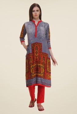 Shree Grey & Red Printed Rayon Kurta