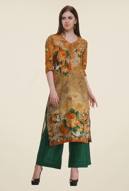 Shree Yellow Floral Print Cotton Kurta