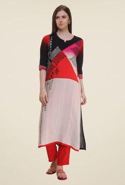Shree Beige & Red Printed Rayon Kurta