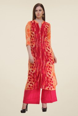 Shree Orange & Red Printed Rayon Kurta