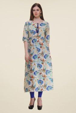 Shree Blue & Beige Floral Print Cotton Kurta