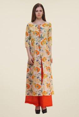 Shree Orange & Beige Floral Print Cotton Kurta