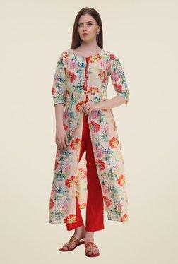 Shree Red & Beige Floral Print Cotton Kurta