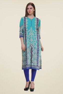 Shree Turquoise Printed Rayon Kurta