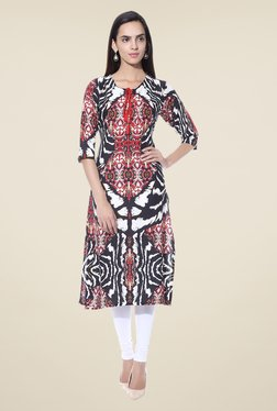 Shree Black & Red Printed Cotton Kurta