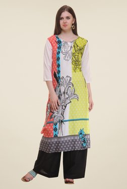 Shree Off White & Yellow Floral Print Rayon Kurta