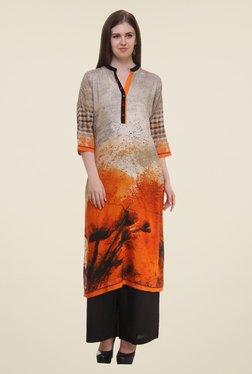 Shree Grey & Orange Printed Rayon Kurta