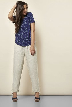 Cottonworld Floral Printed Navy Blouse