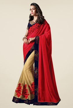 Shonaya Beige & Red Net & Chiffon Embroidered Saree