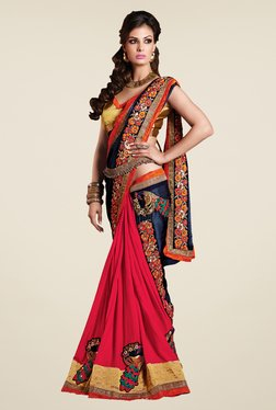 Shonaya Pink & Navy Faux Georgette Embroidered Saree