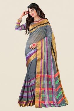 Shonaya Grey & Golden Cotton Silk Printed Saree