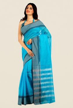 Shonaya Sky Blue Cotton Silk Printed Saree