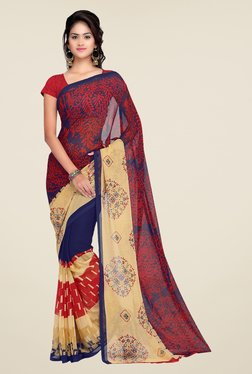 Shonaya Red & Navy Georgette Printed Saree