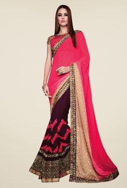 Shonaya Pink & Purple Jacquard & Georgette Embroidered Saree