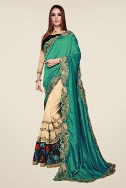 Shonaya Beige & Teal Georgette & Chiffon Embroidered Saree