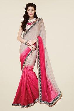 Shonaya Pink & Beige Chiffon Embroidered Saree