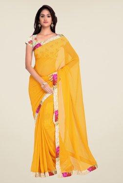 Shonaya Yellow Georgette Floral Print Saree