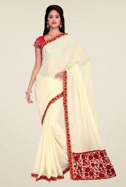 Shonaya Cream Crepe Chiffon Embroidered Saree
