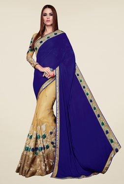 Shonaya Beige & Blue Chiffon Embroidered Saree