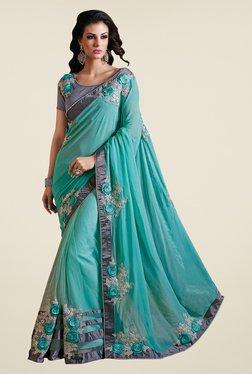 Shonaya Turquoise Net & Georgette Embroidered Saree