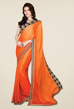 Shonaya Orange Satin Chiffon Embroidered Saree