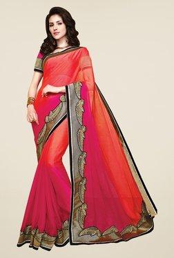 Shonaya Pink & Coral Chiffon Embroidered Saree