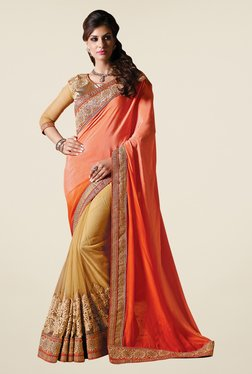 Shonaya Beige & Orange Net & Satin Chiffon Embroidered Saree