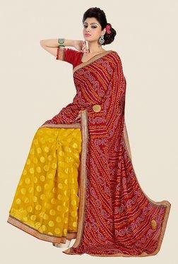 Shonaya Mustard & Red Georgette Bandhani Saree