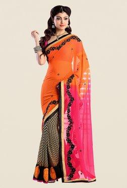 Shonaya Orange & Pink Georgette Embroidered Saree