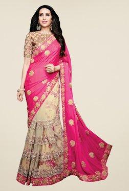 Shonaya Pink & Beige Net & Satin Chiffon Embroidered Saree