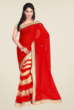 Shonaya Red & Beige Georgette Striped Saree
