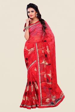 Shonaya Red Marble Jacquard Printed Saree