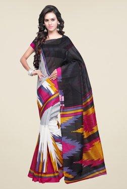 Shonaya White & Black Bhagalpuri Silk Printed Saree
