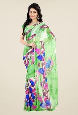 Shonaya Green Faux Georgette Printed Saree