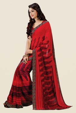 Shonaya Red Georgette Paisley Print Saree
