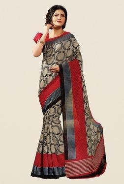 Shonaya Beige & Red Cotton Silk Printed Saree