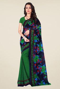 Shonaya Green & Navy Georgette Floral Print Saree