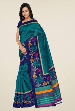 Shonaya Teal Bhagalpuri Silk Floral Print Saree