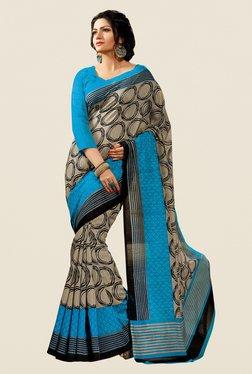 Shonaya Beige & Blue Cotton Silk Printed Saree