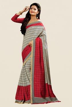 Shonaya Beige & Maroon Cotton Silk Printed Saree