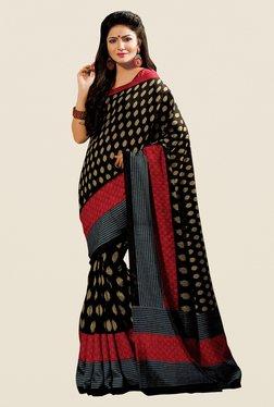 Shonaya Black & Maroon Cotton Silk Printed Saree
