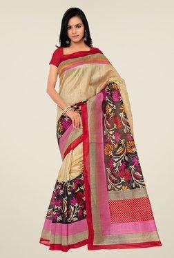 Shonaya Beige & Red Bhagalpuri Silk Floral Print Saree