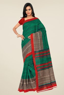 Shonaya Green & Red Bhagalpuri Silk Printed Saree