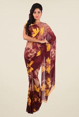 Shonaya Maroon & Beige Georgette Printed Saree